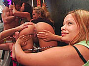 Amateur Chicks Experiment with Each Other and with Random Strippers at Real CFNM Party!